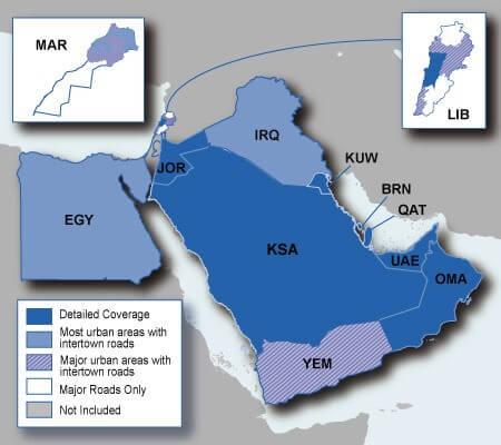 نقشه کشور های حوزه خلیج شامل امارات، کویت، بحرین و ...